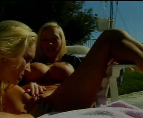 Blonde licks and sucks second blonde's cunt outdoors then fucks her with dildo